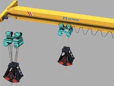 Электрический однобалочный мостовой грейферный кран
